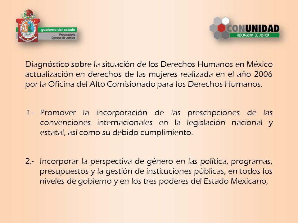 Diagnóstico sobre la situación de los Derechos Humanos en México actualización en derechos de las mujeres realizada en el año 2006 por la Oficina del Alto Comisionado para los Derechos Humanos.