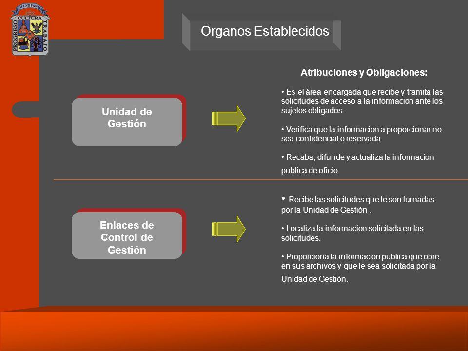 Unidad de Gestión Enlaces de Control de Gestión Atribuciones y Obligaciones: Es el área encargada que recibe y tramita las solicitudes de acceso a la informacion ante los sujetos obligados.
