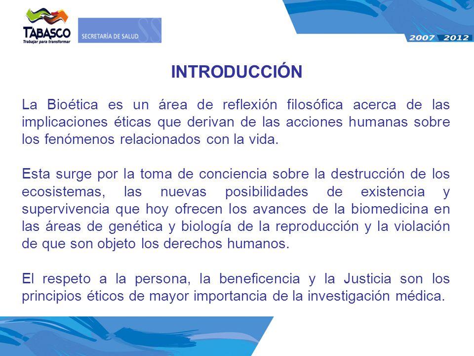 La Bioética es un área de reflexión filosófica acerca de las implicaciones éticas que derivan de las acciones humanas sobre los fenómenos relacionados