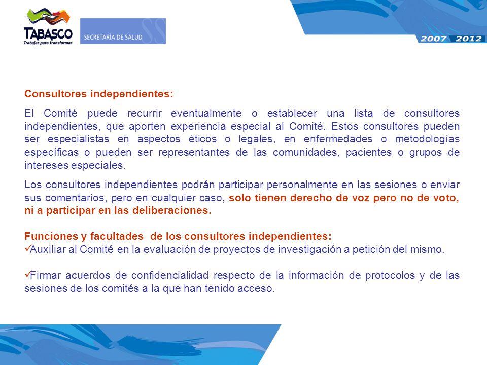 Consultores independientes: El Comité puede recurrir eventualmente o establecer una lista de consultores independientes, que aporten experiencia espec