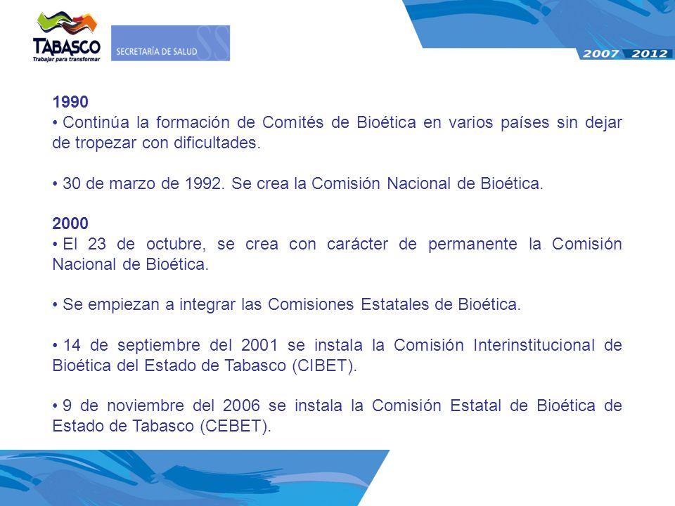 1990 Continúa la formación de Comités de Bioética en varios países sin dejar de tropezar con dificultades. 30 de marzo de 1992. Se crea la Comisión Na