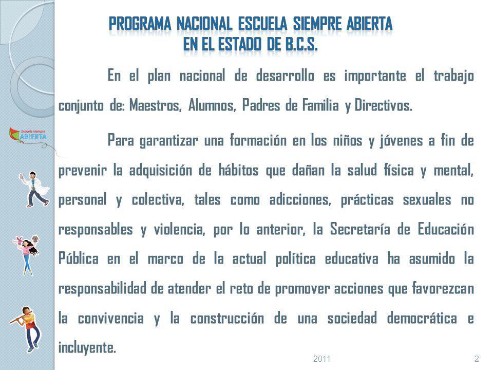 En el plan nacional de desarrollo es importante el trabajo conjunto de: Maestros, Alumnos, Padres de Familia y Directivos.