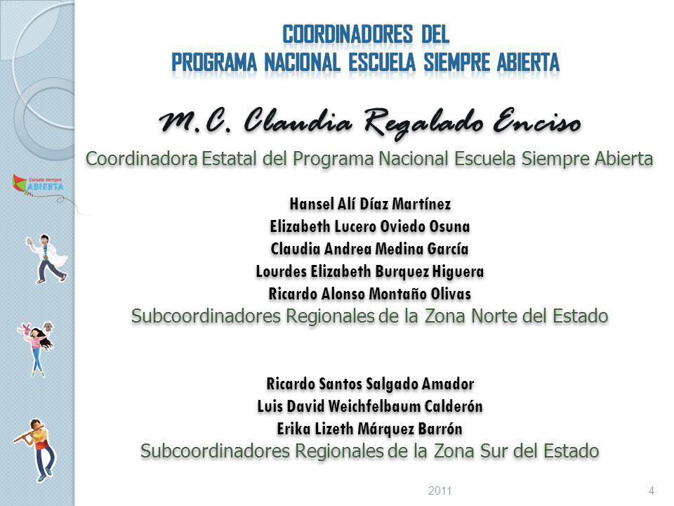 M.C. Claudia Regalado Enciso Coordinadora Estatal del Programa Nacional Escuela Siempre Abierta Hansel Alí Díaz Martínez Elizabeth Lucero Oviedo Osuna