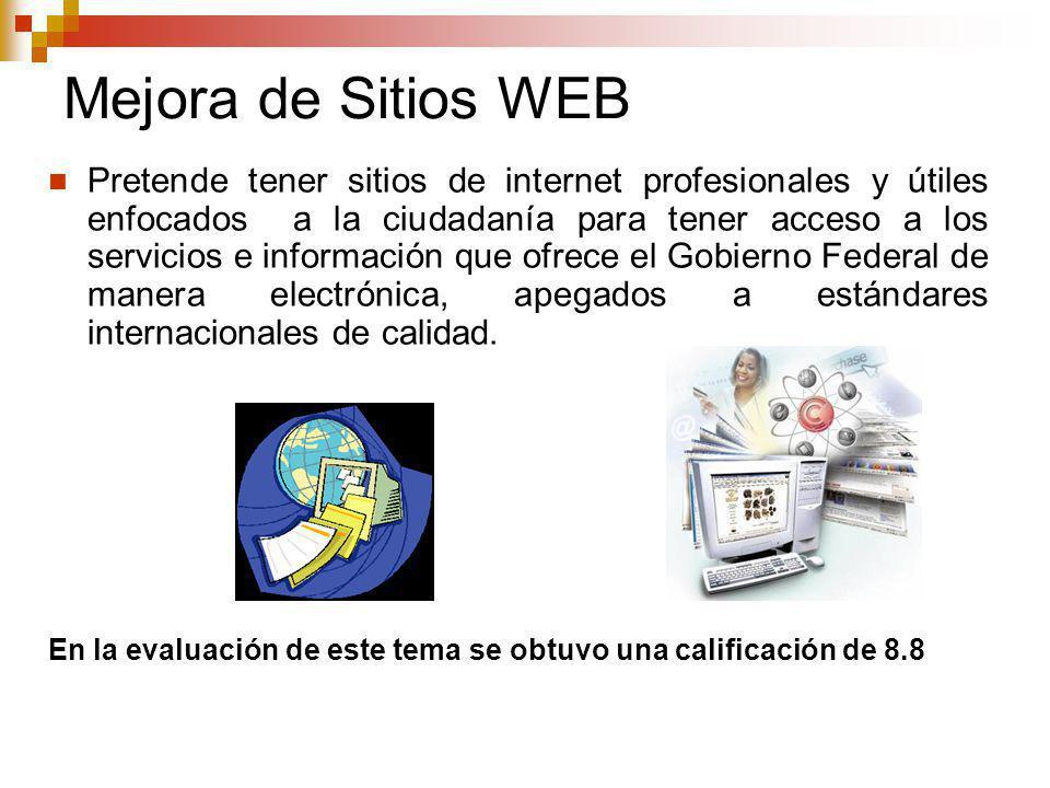 Mejora de Sitios WEB Pretende tener sitios de internet profesionales y útiles enfocados a la ciudadanía para tener acceso a los servicios e información que ofrece el Gobierno Federal de manera electrónica, apegados a estándares internacionales de calidad.