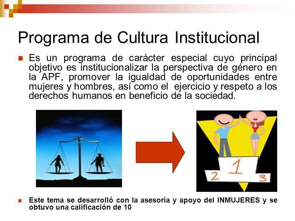 Programa de Cultura Institucional Es un programa de carácter especial cuyo principal objetivo es institucionalizar la perspectiva de género en la APF, promover la igualdad de oportunidades entre mujeres y hombres, así como el ejercicio y respeto a los derechos humanos en beneficio de la sociedad.