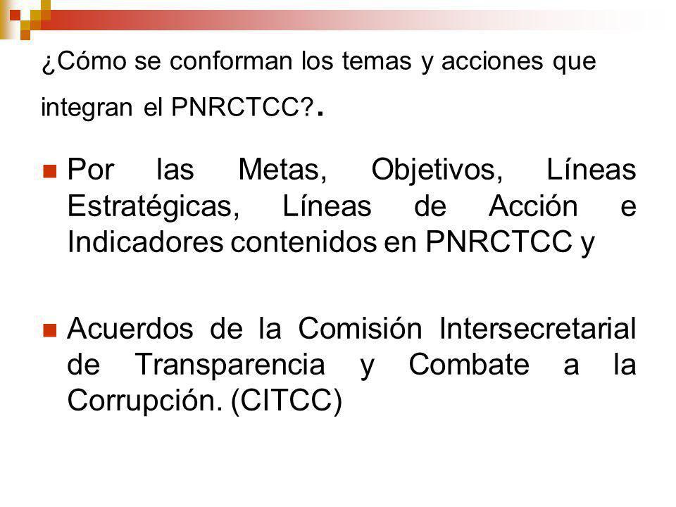 ¿Cómo se conforman los temas y acciones que integran el PNRCTCC?.