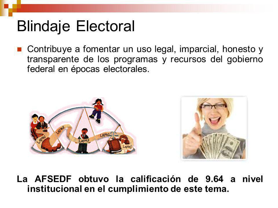 Blindaje Electoral Contribuye a fomentar un uso legal, imparcial, honesto y transparente de los programas y recursos del gobierno federal en épocas electorales.