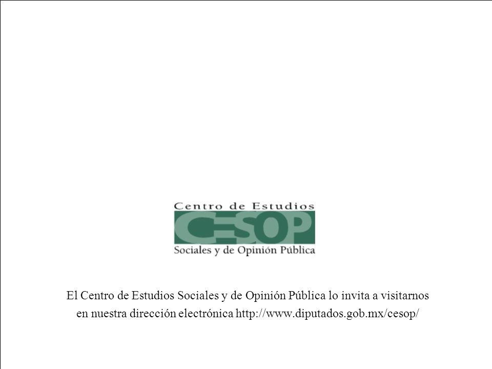 --71-- El Centro de Estudios Sociales y de Opinión Pública lo invita a visitarnos en nuestra dirección electrónica http://www.diputados.gob.mx/cesop/