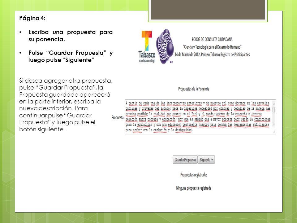 Página 4: Escriba una propuesta para su ponencia.