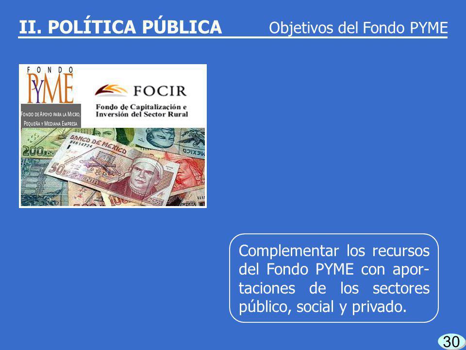 29 Contribuir a la generación de empleos. Objetivos del Fondo PYME II. POLÍTICA PÚBLICA