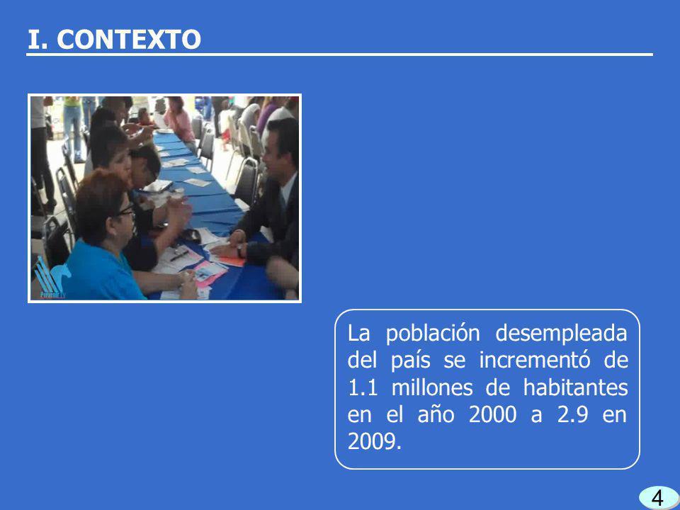 4 4 La población desempleada del país se incrementó de 1.1 millones de habitantes en el año 2000 a 2.9 en 2009.