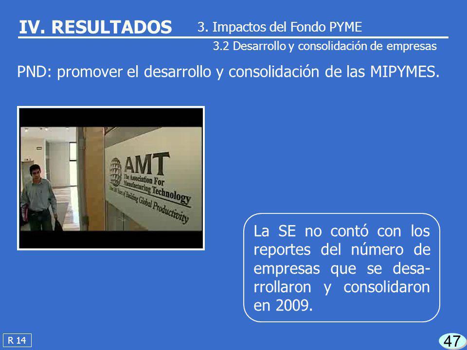 De las 419,164 empresas creadas en el país en 2009, el Fondo PYME contribuyó con la crea- ción del 0.1% del total. 46 R 13 IV. RESULTADOS 3.1 Creación