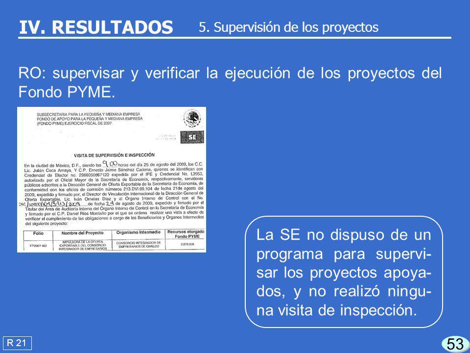 52 R 18 IV. RESULTADOS 4.2 Requisitos para el seguimiento RO: requerir a los OI la información para el seguimiento de los proyectos. De una muestra de