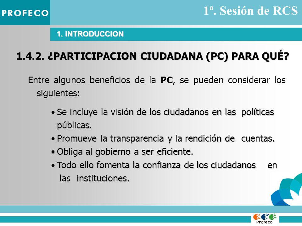1.4.2. ¿PARTICIPACION CIUDADANA (PC) PARA QUÉ.