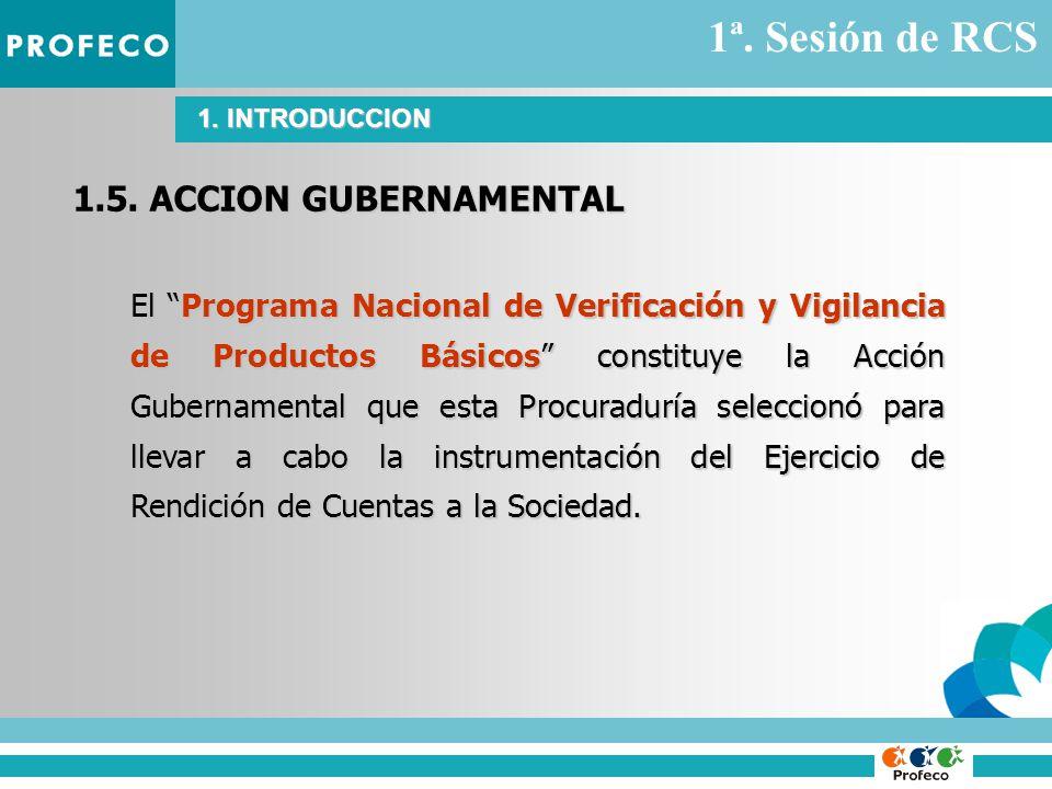 1.5. ACCION GUBERNAMENTAL El Programa Nacional de Verificación y Vigilancia de Productos Básicos constituye la Acción Gubernamental que esta Procuradu