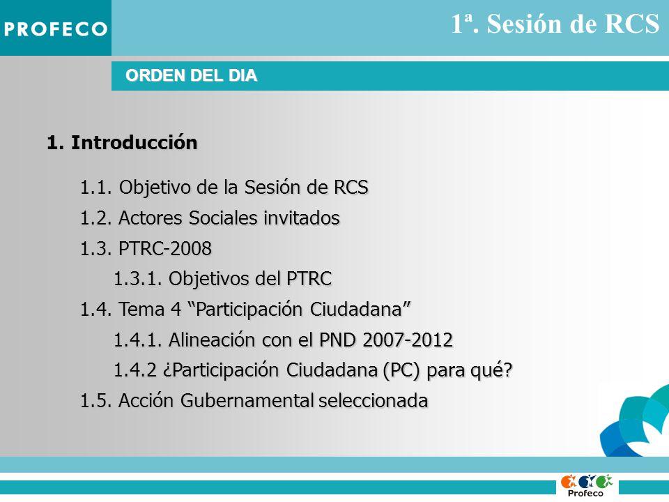 ORDEN DEL DIA 1.Introducción 1.1. Objetivo de la Sesión de RCS 1.2.