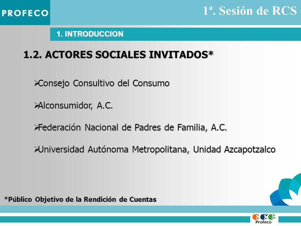 1.2. ACTORES SOCIALES INVITADOS* Consejo Consultivo del Consumo Consejo Consultivo del Consumo Alconsumidor, A.C. Alconsumidor, A.C. Federación Nacion