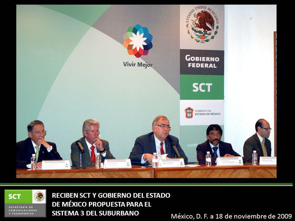 RECIBEN SCT Y GOBIERNO DEL ESTADO DE MÉXICO PROPUESTA PARA EL SISTEMA 3 DEL SUBURBANO México, D.
