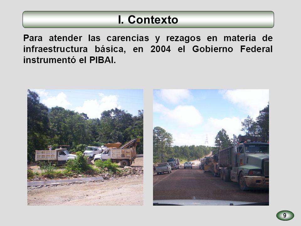 9 Para atender las carencias y rezagos en materia de infraestructura básica, en 2004 el Gobierno Federal instrumentó el PIBAI. I. Contexto