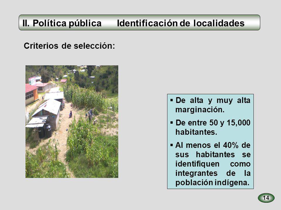 Los beneficiarios del PIBAI son: 15 Los habitantes de las localidades indíge- nas que cumplen los requisitos de elegibi- lidad.