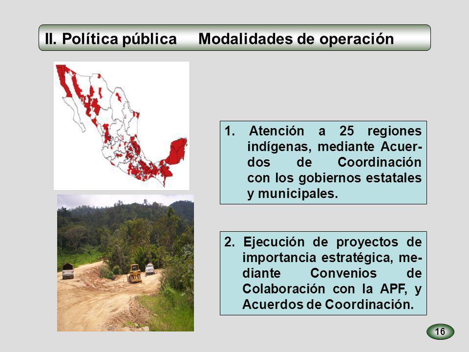 16 1. Atención a 25 regiones indígenas, mediante Acuer- dos de Coordinación con los gobiernos estatales y municipales. 2. Ejecución de proyectos de im