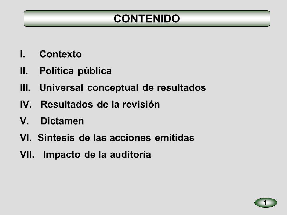 CONTENIDO I. Contexto II. Política pública III. Universal conceptual de resultados IV. Resultados de la revisión V. Dictamen VI. Síntesis de las accio