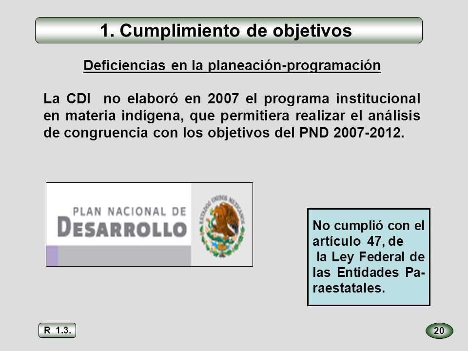 20 La CDI no elaboró en 2007 el programa institucional en materia indígena, que permitiera realizar el análisis de congruencia con los objetivos del P