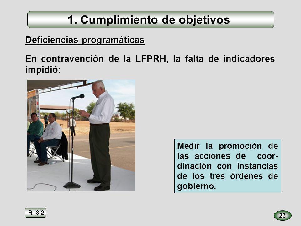 23 Deficiencias programáticas Medir la promoción de las acciones de coor- dinación con instancias de los tres órdenes de gobierno. 1. Cumplimiento de