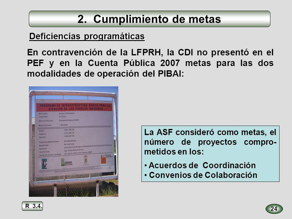 2. Cumplimiento de metas 24 La ASF consideró como metas, el número de proyectos compro- metidos en los: Acuerdos de Coordinación Convenios de Colabora