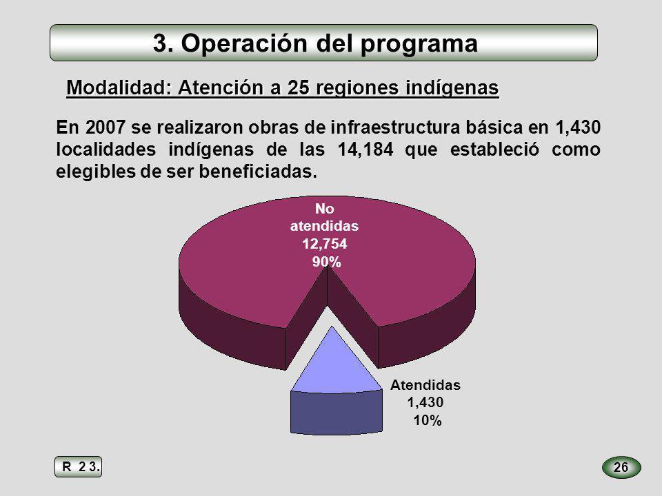 3. Operación del programa En 2007 se realizaron obras de infraestructura básica en 1,430 localidades indígenas de las 14,184 que estableció como elegi