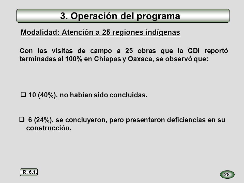 3. Operación del programa Con las visitas de campo a 25 obras que la CDI reportó terminadas al 100% en Chiapas y Oaxaca, se observó que: 28 10 (40%),