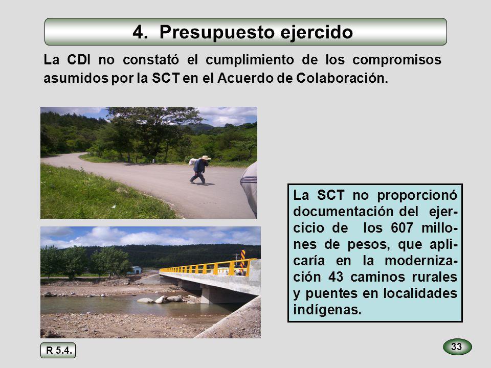 34 La CNA no proporcionó información del ejercicio de 309 millones de pesos (69%) de los 450 aportados por la CDI, para realizar 241 obras de agua potable en localidades indígenas 4.