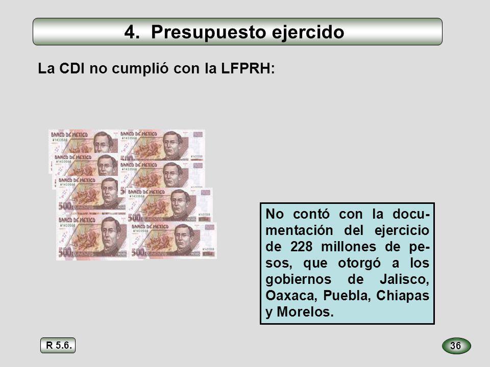 36 La CDI no cumplió con la LFPRH: No contó con la docu- mentación del ejercicio de 228 millones de pe- sos, que otorgó a los gobiernos de Jalisco, Oa