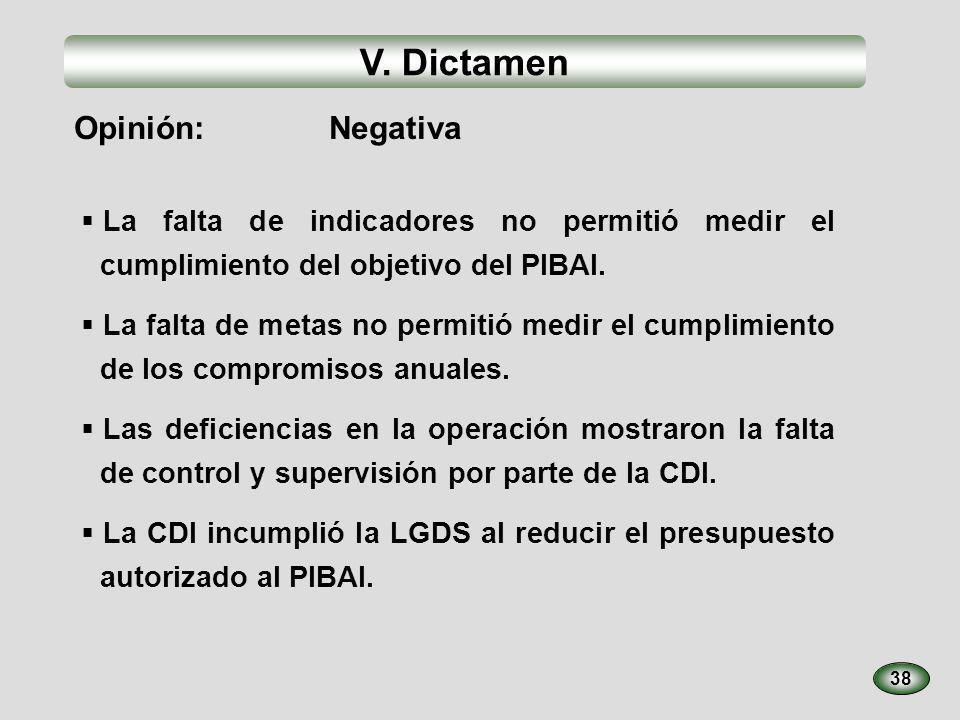 V. Dictamen 38 La falta de indicadores no permitió medir el cumplimiento del objetivo del PIBAI. La falta de metas no permitió medir el cumplimiento d