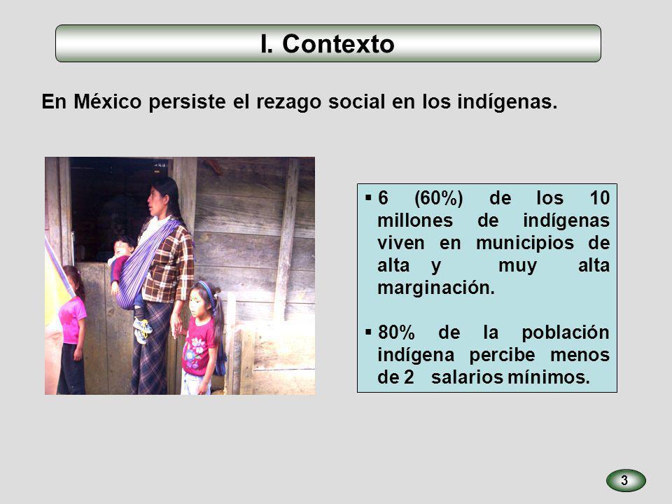 3 En México persiste el rezago social en los indígenas. 6 (60%) de los 10 millones de indígenas viven en municipios de alta y muy alta marginación. 80