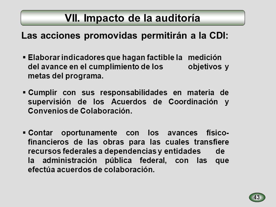 43 VII. Impacto de la auditoría Elaborar indicadores que hagan factible la medición del avance en el cumplimiento de los objetivos y metas del program
