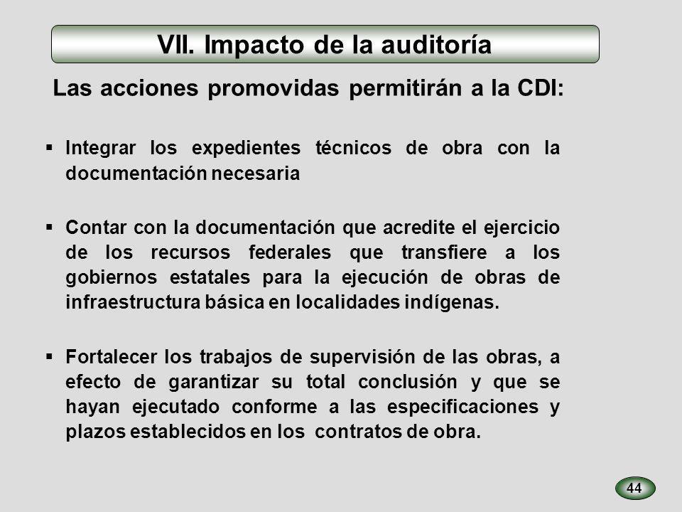 44 VII. Impacto de la auditoría Integrar los expedientes técnicos de obra con la documentación necesaria Contar con la documentación que acredite el e