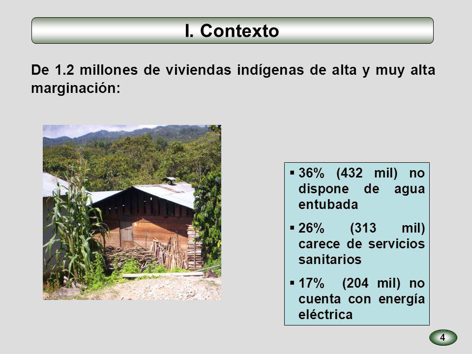 De 1.2 millones de viviendas indígenas de alta y muy alta marginación: I. Contexto 4 36% (432 mil) no dispone de agua entubada 26% (313 mil) carece de
