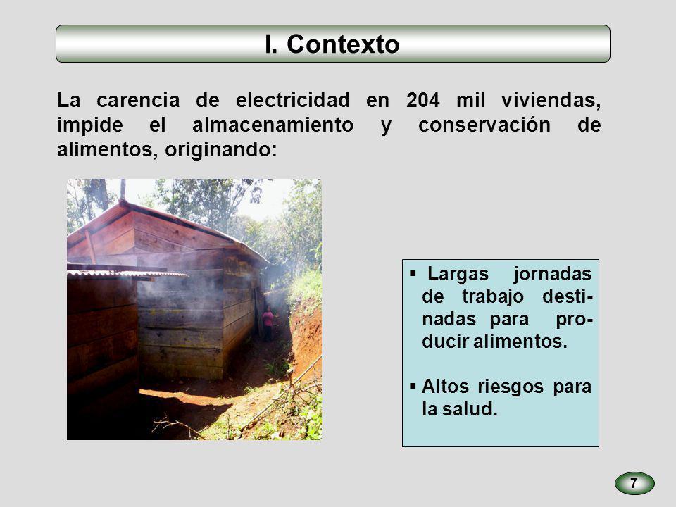 I. Contexto La carencia de electricidad en 204 mil viviendas, impide el almacenamiento y conservación de alimentos, originando: 7 Largas jornadas de t
