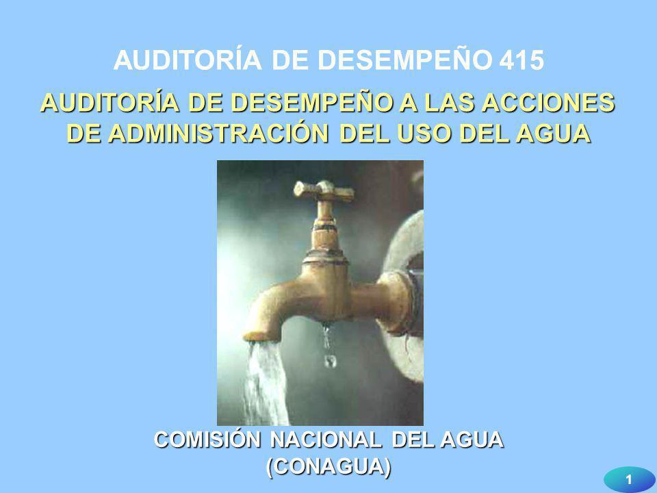 1 AUDITORÍA DE DESEMPEÑO 415 AUDITORÍA DE DESEMPEÑO A LAS ACCIONES DE ADMINISTRACIÓN DEL USO DEL AGUA COMISIÓN NACIONAL DEL AGUA (CONAGUA)