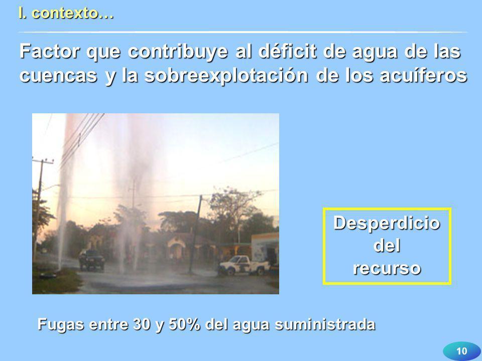 10 I. contexto… Fugas entre 30 y 50% del agua suministrada Desperdiciodelrecurso Factor que contribuye al déficit de agua de las cuencas y la sobreexp
