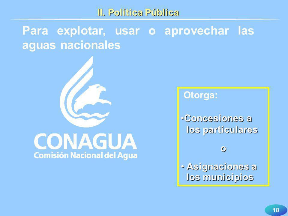 18 Otorga: Concesiones aConcesiones a los particulares los particulareso Asignaciones a Asignaciones a los municipios los municipios Para explotar, us