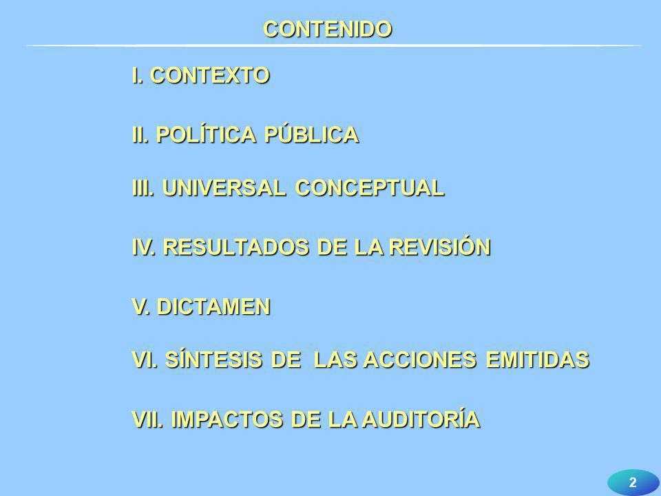 2 I. CONTEXTO II. POLÍTICA PÚBLICA III. UNIVERSAL CONCEPTUAL IV. RESULTADOS DE LA REVISIÓN V. DICTAMEN VI. SÍNTESIS DE LAS ACCIONES EMITIDAS VII. IMPA