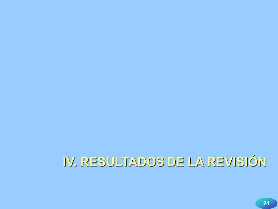 24 IV. RESULTADOS DE LA REVISIÓN