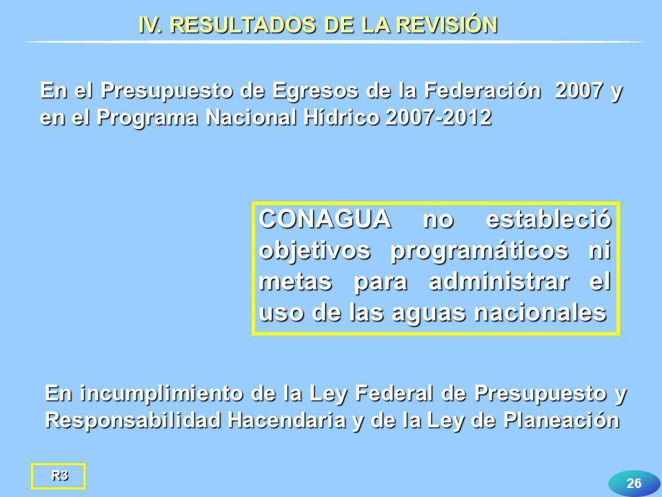 26 En el Presupuesto de Egresos de la Federación 2007 y en el Programa Nacional Hídrico 2007-2012 CONAGUA no estableció objetivos programáticos ni met