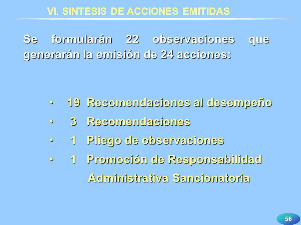 56 Se formularán 22 observaciones que generarán la emisión de 24 acciones: 19 Recomendaciones al desempeño19 Recomendaciones al desempeño 3 Recomendac
