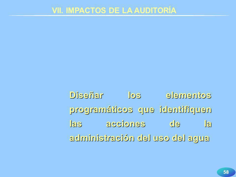 58 VII. IMPACTOS DE LA AUDITORÍA Diseñar los elementos programáticos que identifiquen las acciones de la administración del uso del agua