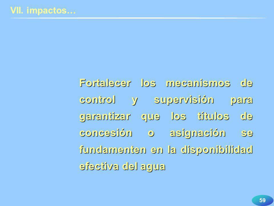 59 Fortalecer los mecanismos de control y supervisión para garantizar que los títulos de concesión o asignación se fundamenten en la disponibilidad ef