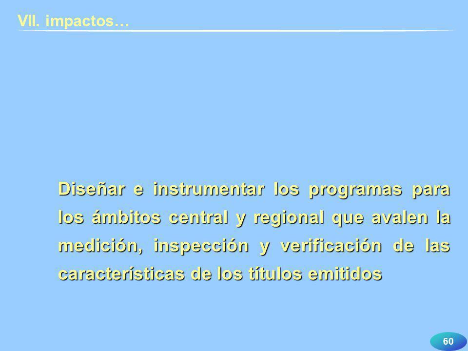 60 VII. impactos… Diseñar e instrumentar los programas para los ámbitos central y regional que avalen la medición, inspección y verificación de las ca