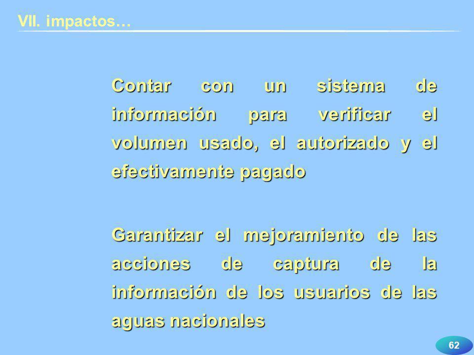 62 VII. impactos… Contar con un sistema de información para verificar el volumen usado, el autorizado y el efectivamente pagado Garantizar el mejorami